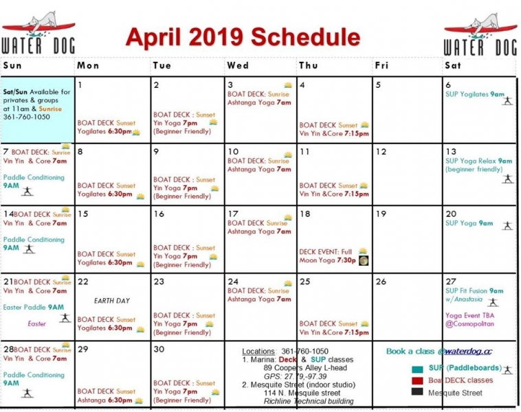 Water Dog April Schedule